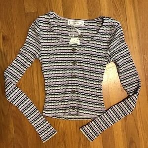 Hippie Rose Ribbed long Sleeve Top XS NWT